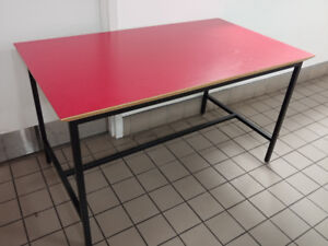 wood table top with steel leg 51 3/4 x 29 3/4 x 29H