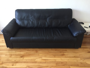 Black leather couch (Ikea) for sale!