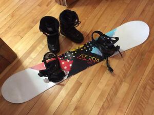 Planche de snow et bottes grandeur 8 pour FEMME