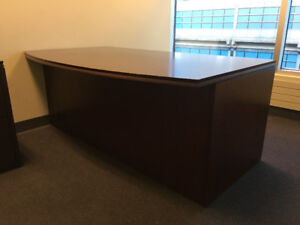 Beautiful Wood Office Desk + Credenza