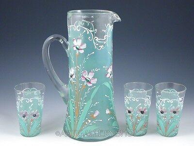 Antique Victorian ART GLASS PITCHER HAND PAINTED ENAMEL FLOWERS & 3 TUMBLERS Set