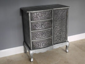 Traditional Decorative Silver & Black Embossed Storage Drawer Cabinet