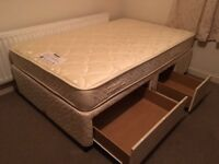 Small double divan bed with drawers-Free delivery