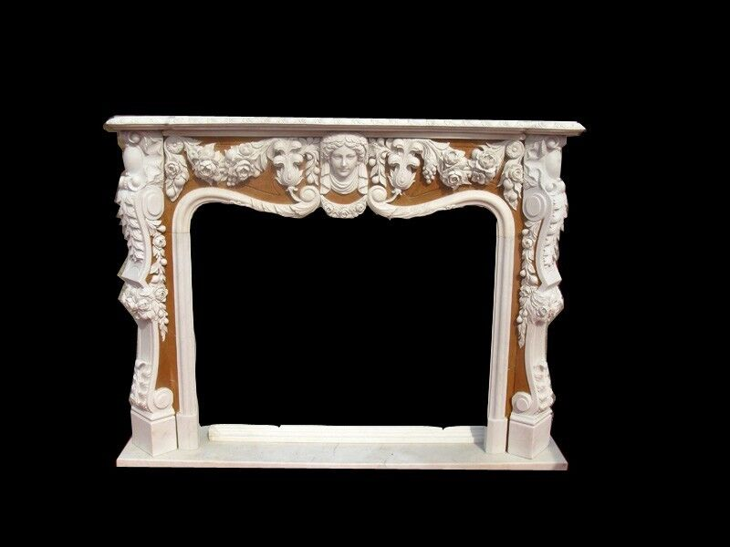 BEAUTIFUL HAND CARVED MARBLE FIREPLACE MANTEL FNT1