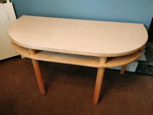 Vintage Half Round Blonde Table