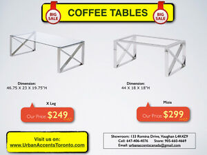 WOOD OR GLASS COFFEE TABLES & CONSOLE TABLES ON SALE IN TORONTO