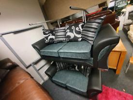 Brand new ex display 3 &2 seater sofa in black &grey fabric £699