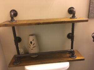 Bathroom shelf with towel hanger