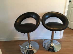 Plump Barstool - Black Faux Leather Quality two Bar Stools