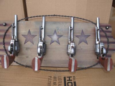 Cowboy 4 Revolver Garderobe Wandhaken L 57cm Westerndeko Deko NEUHEIT