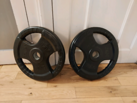 2x 20kg TNP OLYMPIC RUBBER TRI GRIP WEIGHT PLATES *EXCELLENT CONDITION