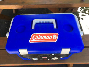 Coleman portable cooler with am/fm radio and ice chest.