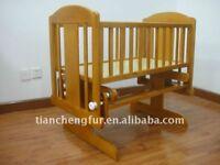 Rocking baby crib + changing table + bumbo + breastfeeding cushion