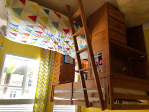 Children bunk bed with desk