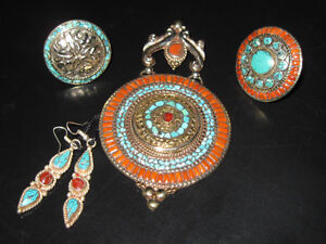 Brand New Turquoise & Coral Sterling Silver*Southwest Collection
