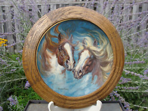 """MUSTANGS"" THE HORSES OF HARLAND YOUNG FRAMED PLATE London Ontario image 1"
