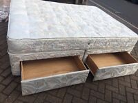 Kingsize divan bed with 4 drawers, Free mattress / Free delivery