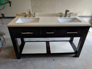 Bathroom Vanity 60' Double Sink, Quartz Countertop with Faucets