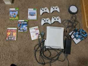 Modded Xbox 360 with 4 controllers and games