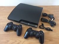 PS3 PlayStation 3 Slim Console w/ 2 dualshock 3 controllers & cables