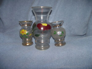Vases-glass painted gold trim - OBO