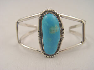 Solid Sterling Silver Large Turquoise Stone Cuff Bracelet