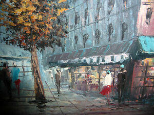"Henry Rogers ""Paris Street, Evening"" Original Oil Painting Stratford Kitchener Area image 9"