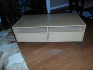 Double side coffee table,TV table with wheels.....