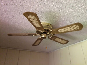 Decorative Ceiling Fan with Bronze & Wood Trim
