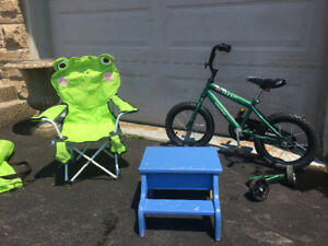 Kid's foldable chair and stepping stool.