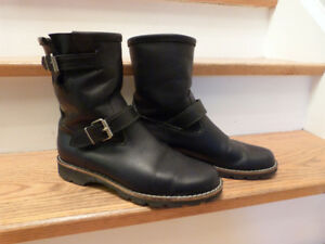 Roots Black Leather Motorcycle Boots