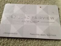Selling 50$ Champlain mall gift card