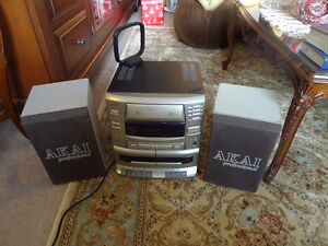 Sanyo Akai Sound System, Dual Cassette, 3 Three-Disc CD Changer