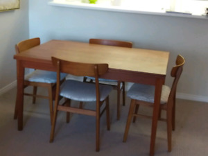 Teak Dining Table, Chairs & Buffet