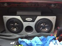 """2 10"""" clarion subs and 1400 watt Sony xplod amplifier"""