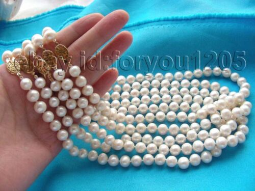Wholesale 5piece Natural 9mm Round White Pearl Necklace #c2022!