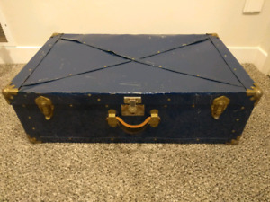 Blue Metal Steamer Trunk with Leather Handle