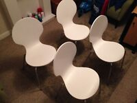 4 M&S white and chrome chairs