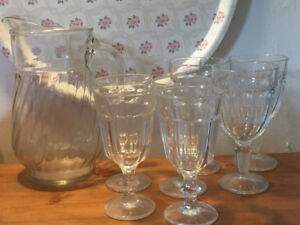 Glass Jug and 7 Goblets