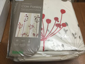 New in package lined curtains and matching cushions