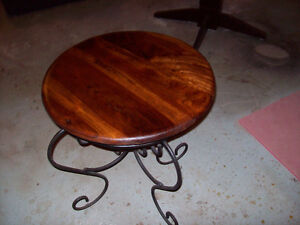 Beautiful solid cherry topped end table with wrought iron base London Ontario image 3