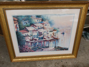 24 by 30 inch picture with wooden frame and glass -reduced price