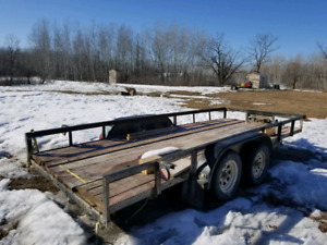16' car hauler style trailer. No ramps. Steel rail