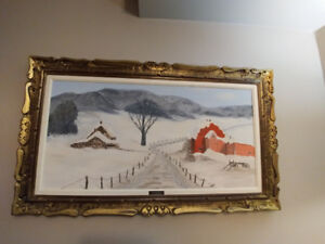 Estate Sale Original Large Oil On Canvas THE RED BARN- Signed
