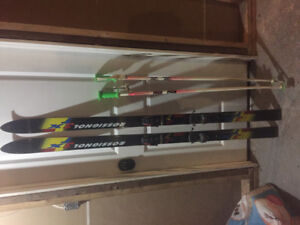 Rossignol down hill skis and poles