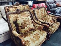 Stunning heavy carved chesterfield 2 11 sofa set