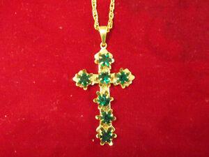 2 inch cross with green gems costume jewellery