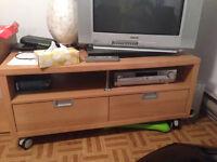 Meuble TV avec deux tiroirs - sur roulette