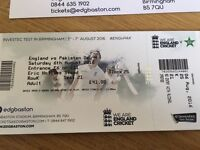 2 x England vs Pakistan Test Cricket Tickets day 4 Saturday 6th August