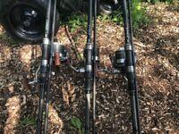 H Gun fishing Rods x3 Wychwood reels x3